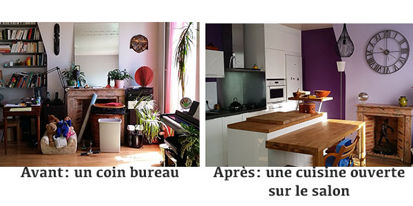 d coratrice avant apr s ouvrir une cuisine sur un salon. Black Bedroom Furniture Sets. Home Design Ideas